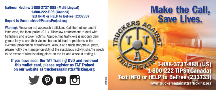Trucker's Against Trafficking Wallet Card
